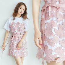 2017韩国东大门女装夏季新款纯色蕾丝拼接系带短袖圆领T恤连衣裙