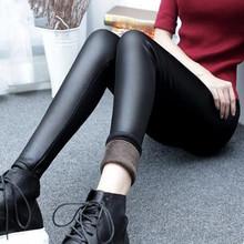 加絨加厚仿皮褲女冬季打底褲外穿薄款高腰大碼緊身彈力亞光皮褲