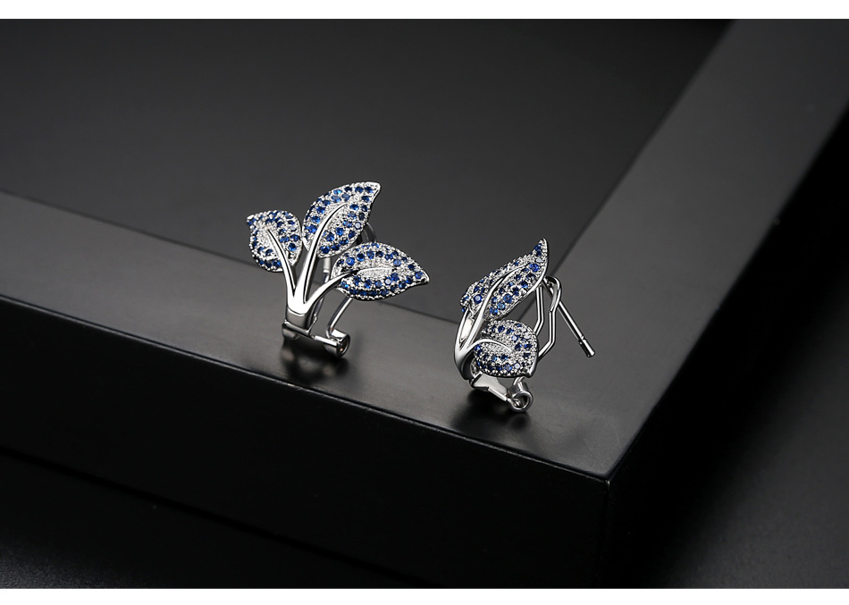 Copper Korea Geometric earring  Blue zirconium plated white alloy NHTM0549Bluezirconiumplatedwhitealloy