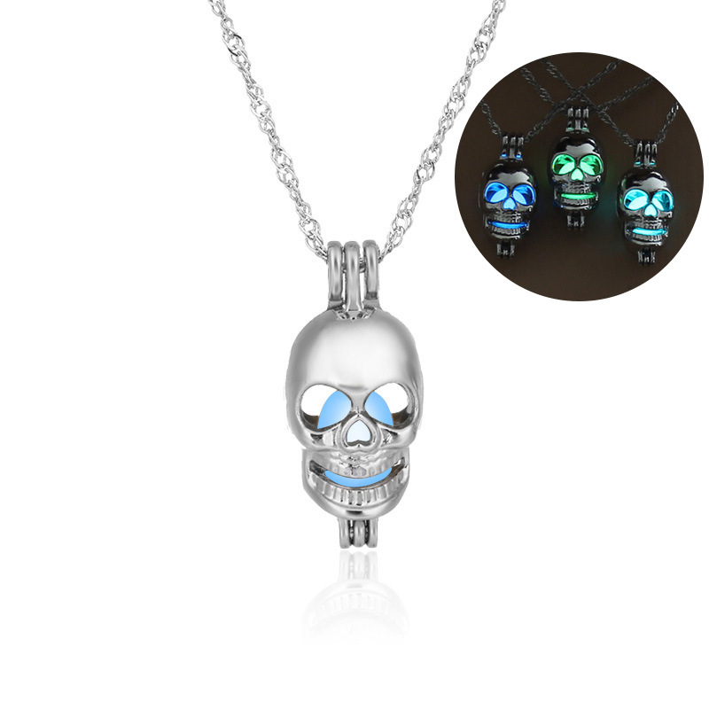 Fashion allmatch hot sale luminous cage  hollow skull head pendant womens necklace NHAN252975