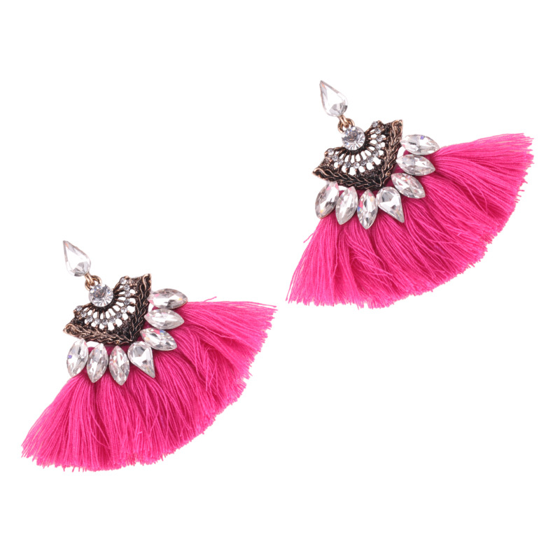 folk-custom alloy hand made earring (rose Red)NHJQ9295-rose Red