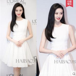 景甜明星同款2018初秋新款时尚女装 气质无袖白色修身连衣裙代发