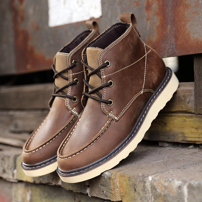 真皮男鞋子英伦马丁靴潮流男靴复古工装靴男士短靴女靴子高帮军靴
