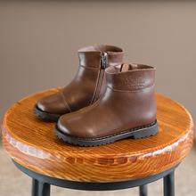 2017秋冬季新款童鞋韩版儿童马丁靴男童女童中筒加绒保暖真皮靴子