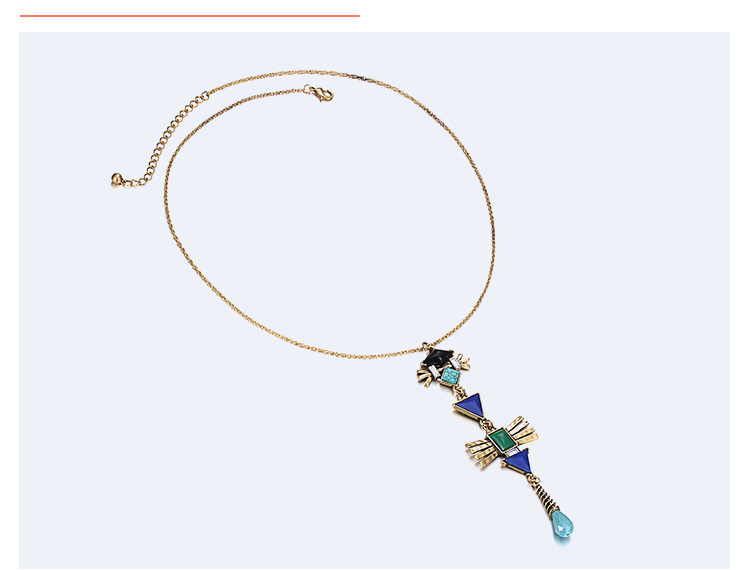 Fashion OL alloy Inlay resin necklace (Golden green)NHNTF1243-Golden green