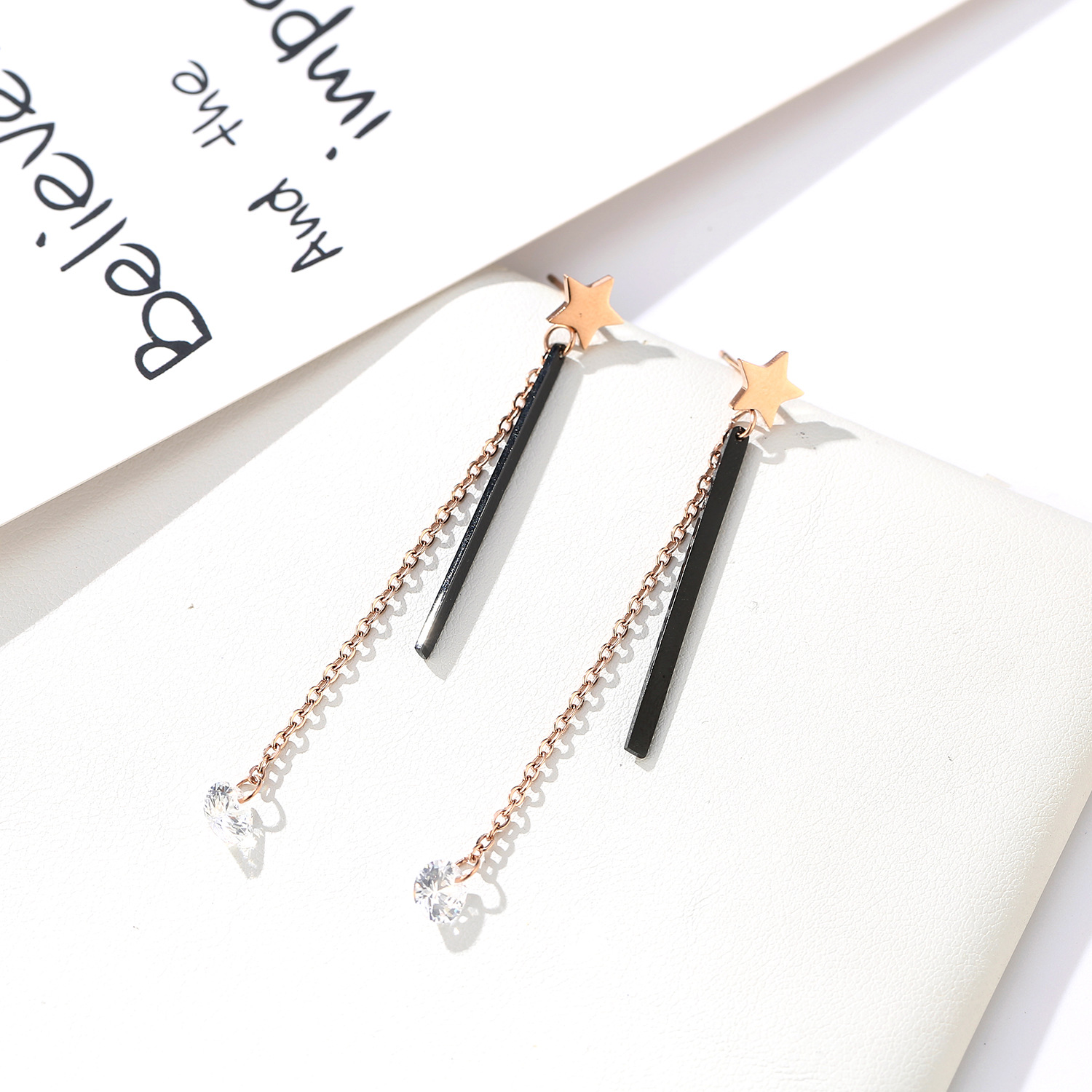 folk-custom metal plating Titanium steel earrings (Rose gold pair)NHIM0942-Rose gold pair