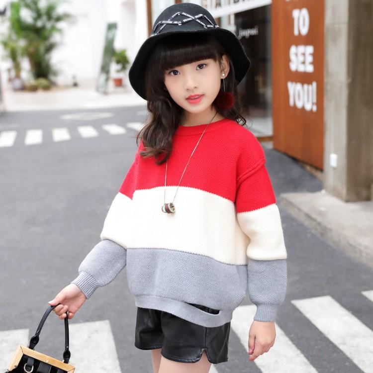 女童冬季毛衣春秋新款中大儿童时尚韩版针织衫女孩儿上衣