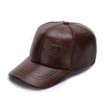 海宁秋冬季真皮牛皮棒球帽压花男士鸭舌帽可调节帽子韩版厂家直销