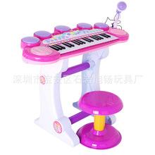 双供电多功能电子琴带麦克风 琴鼓组合儿童早教乐器玩具 一件代发