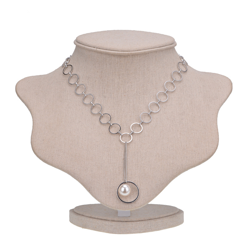 other copper Inlaid pearl necklace (Silver)NHYT0240-Silver
