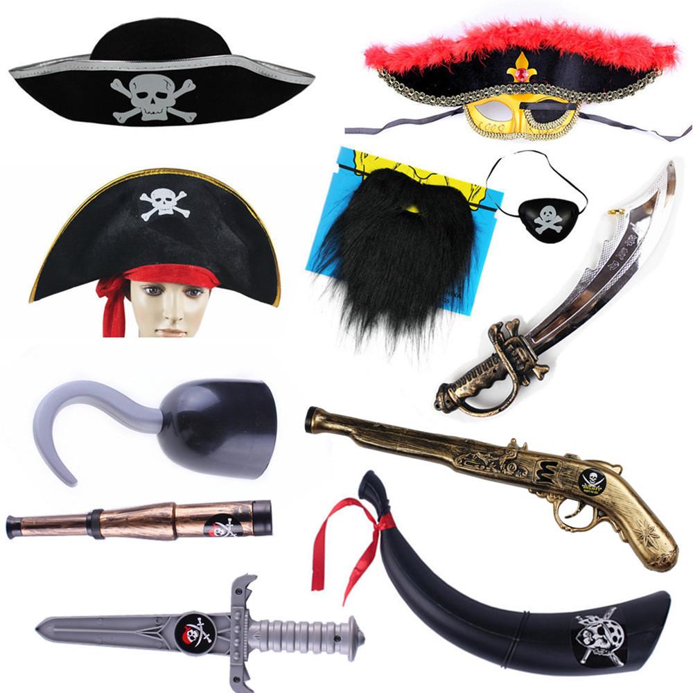 cosplay万圣节海盗帽子面具加勒比海盗刀海盗旗喇叭号角眼罩服装