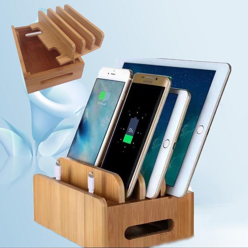 竹木手机支架ipad充电底座支架平板桌面收纳架苹果笔记本办公创意