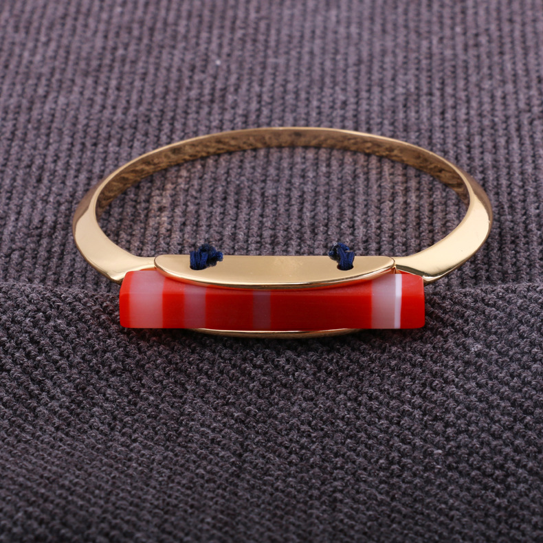 Fashion OL Brass + electric white steelbracelet (red)NHBJ0256-red