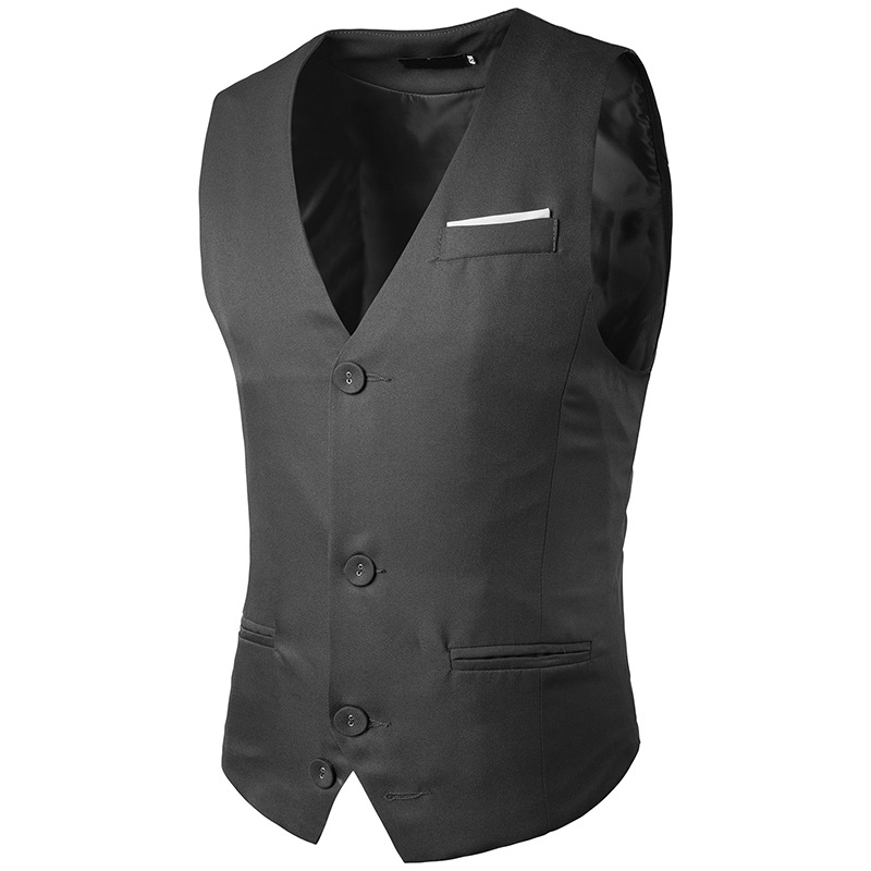 Sumitong men's spring and autumn new men's pocket stitching single row three button suit vest men's business vest