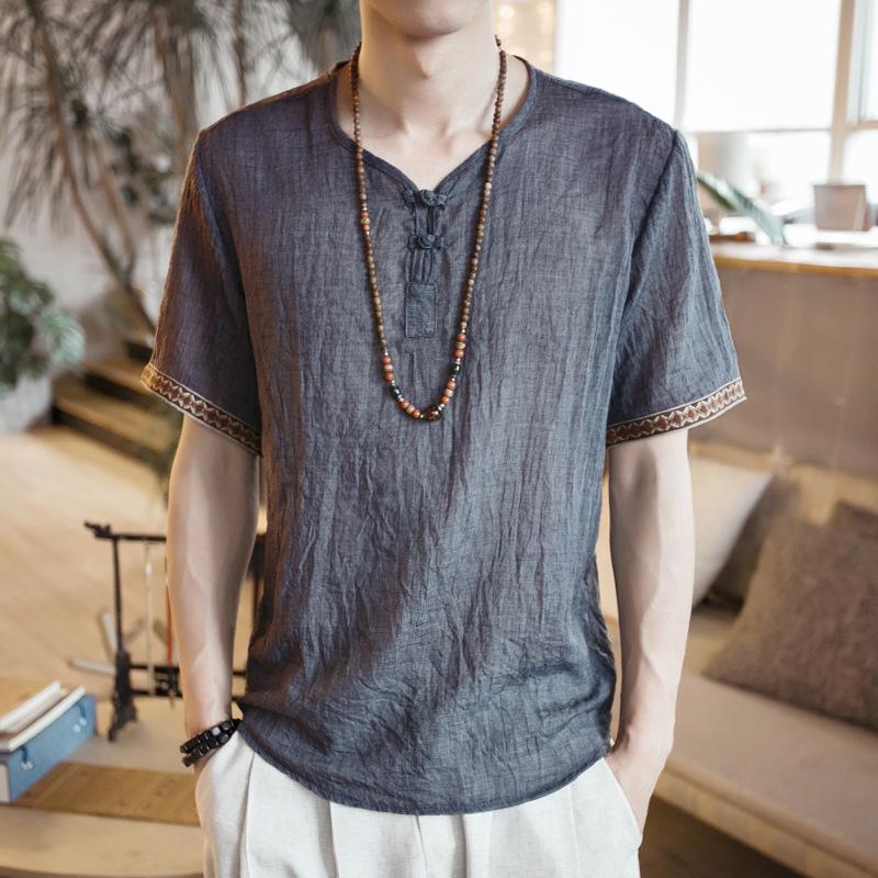 2019夏季爆款中国风刺绣盘扣短袖 薄款亚麻休闲大码短袖男棉麻T恤