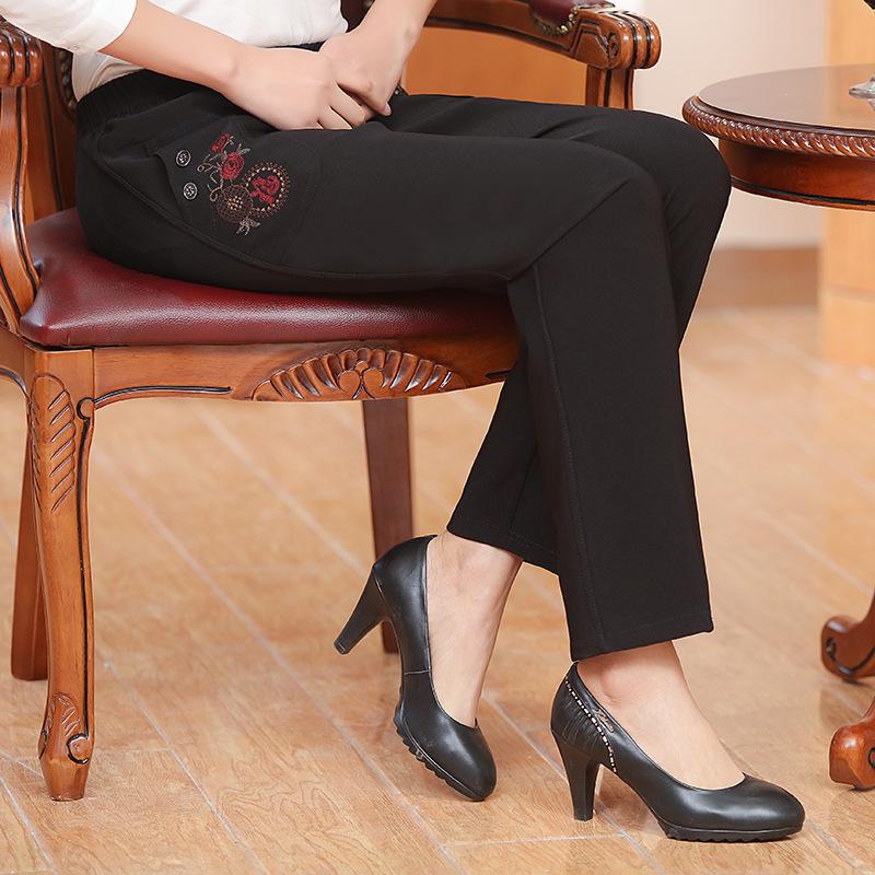 秋季新品女士外穿休闲裤子中老年妈妈装绣花宽松大码老太太直筒裤