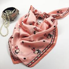 厂家直销夏季新款印花真丝围巾 时尚潮人装饰领巾小方巾丝巾批发