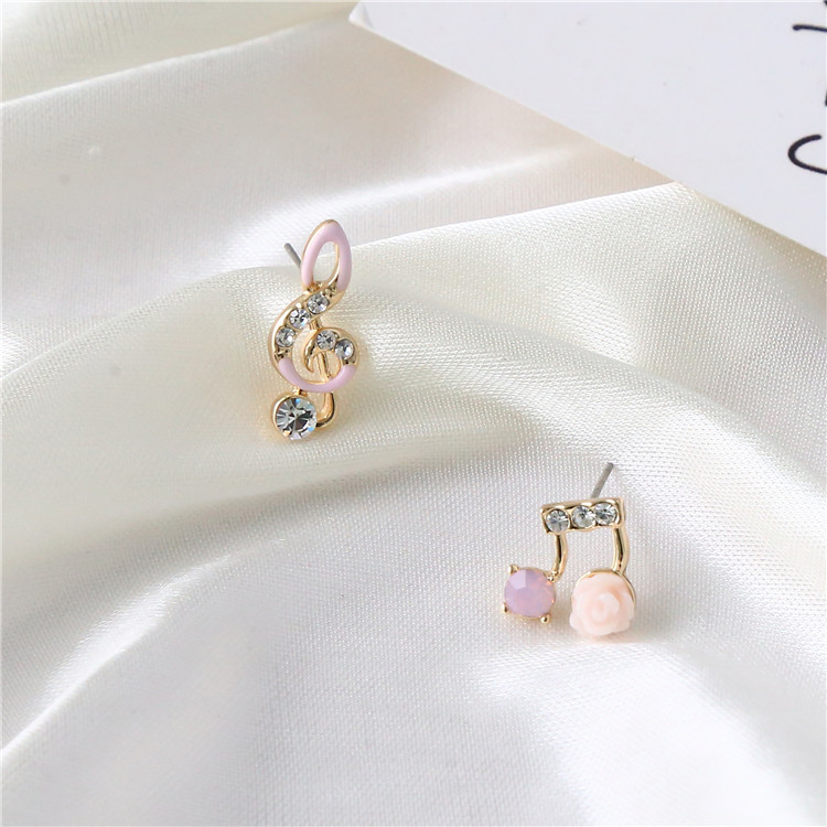 Star with the money crystal plating earring (Pink one pair)NHIM0715-Pink one pair