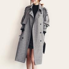 韩国秋冬新款毛呢子中长款大衣新款英伦大码风衣外套双排扣格?#20248;? class=