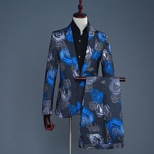 men's jazz dance suit blazers Men party printed best man dress set performance suit