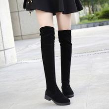 廠家直銷2018秋冬新款純色低跟學生鞋后系帶騎士靴瘦腿女長筒靴女