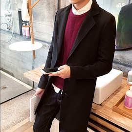 外贸速卖通韩版秋冬装男士休闲呢子风衣 单排扣中长款毛呢大衣男