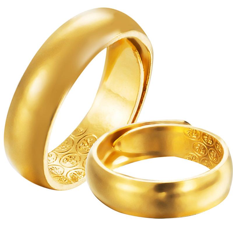 越南沙金情侣戒指 镀金开口光面男士仿金戒指男 镀24k金戒指女