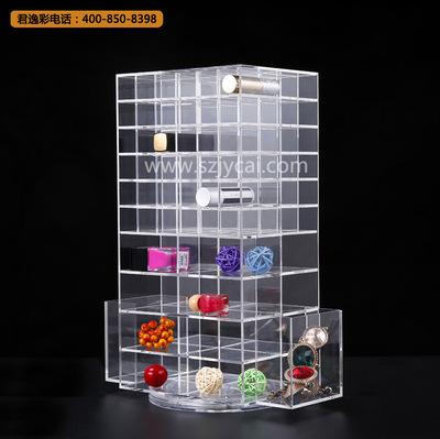 厂家批发透明化妆品收纳盒 定做桌面彩妆盒有机玻璃旋转收纳盒