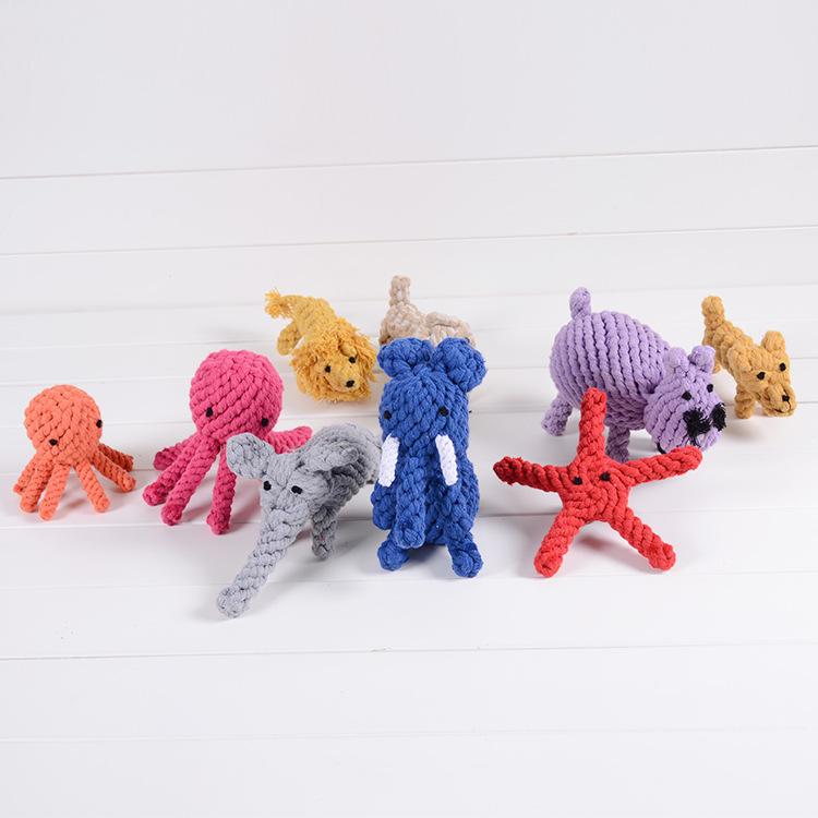厂家批发手工编织棉绳宠物玩具 狗狗磨牙洁齿狗玩具用品