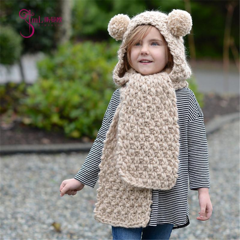 冬季儿童针织帽子批发外贸手工毛线帽围脖一体可爱卡通女童护耳帽