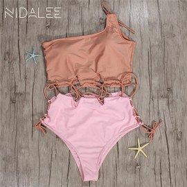 International hair Europe and the United States popular style one-piece hollowed-out single solid color sexy triangular swimsuit