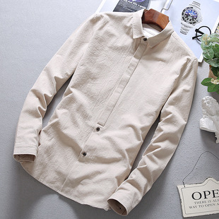 Autumn youth shirt men's long-sleeved Korean version of the trend of slim men's casual bottoming shirt student white shirt