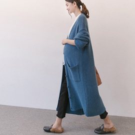Autumn and winter new maternity dress loose knitted maternity cardigan coat large size