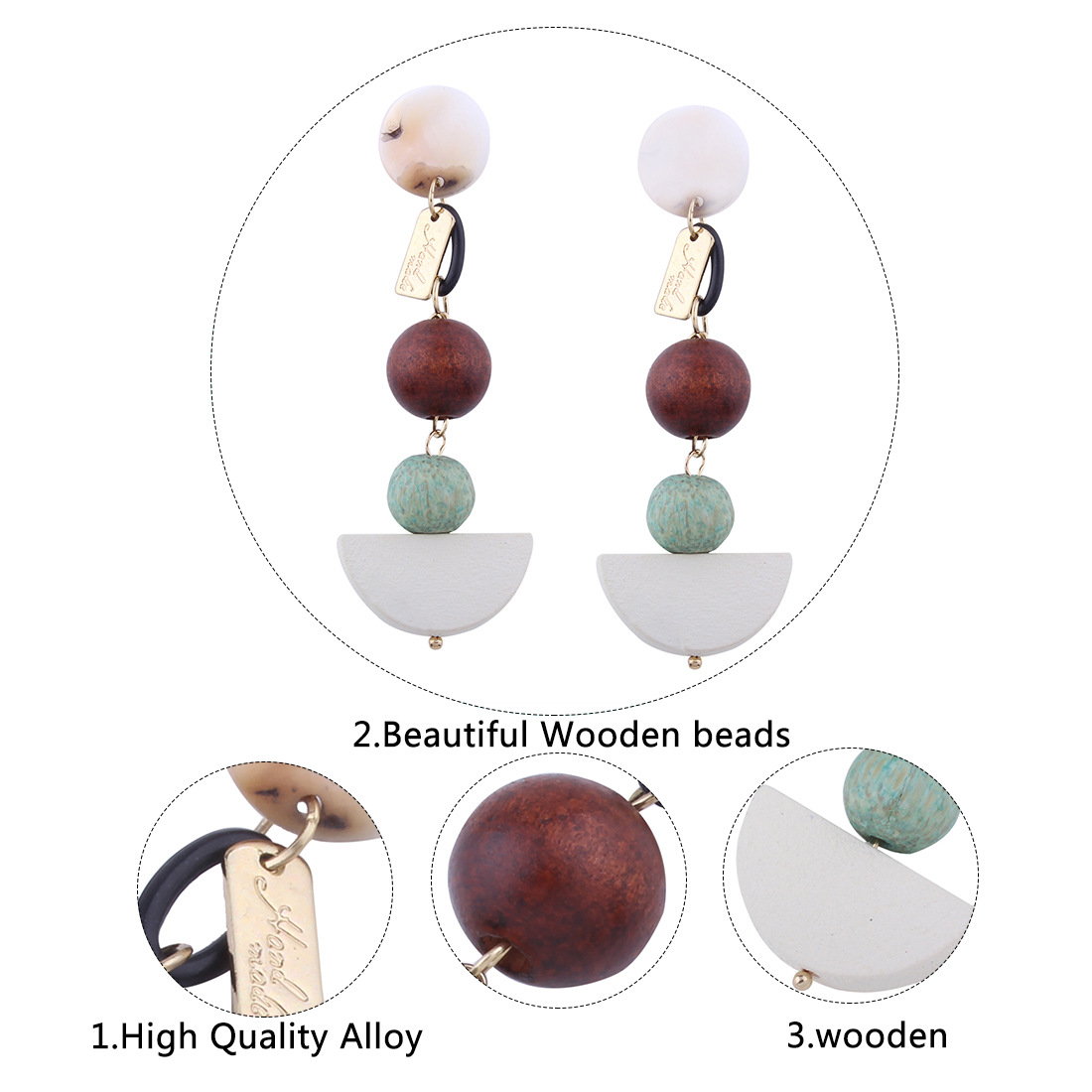 Occident and the United States alloy plating earring (Green brown)NHNMD3760-Green brown