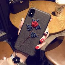 刺绣花苹果7plus手机壳iPhone6sp保护套女款苹果X防摔i8刺绣软壳