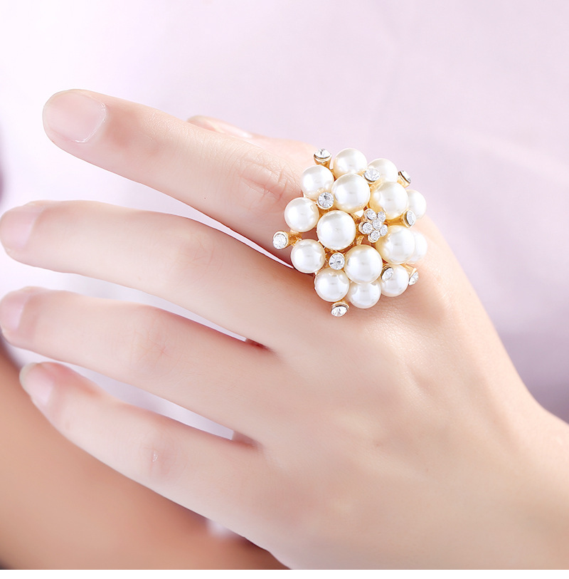 Occident and the United States alloy plating Ring (KC gold - white - adjustable opening)NHKQ1161-KC gold - white - adjustable opening