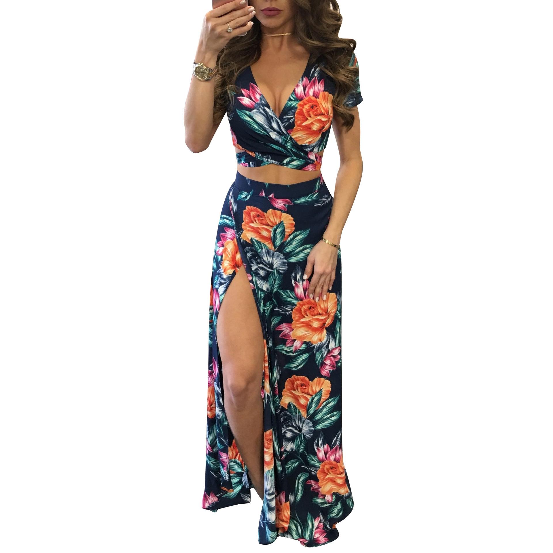 a7e48cf5435 2019 Women Summer Floral High Slit Long Dress Printed Maxi Beach ...