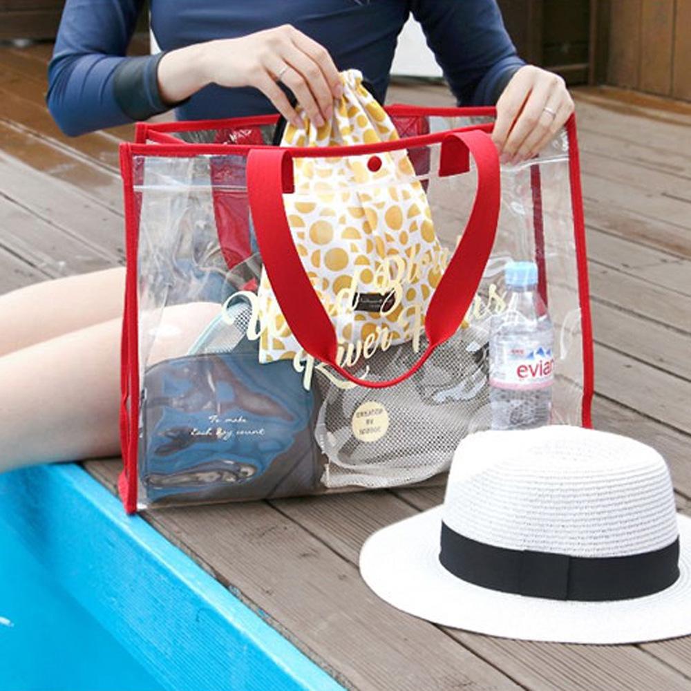 PVC防水收纳包袋游泳便携衣物时尚单肩包透明沙滩包旅行手提袋