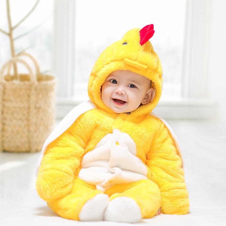 现货跨境新生儿动物造型服秋冬加绒加厚宝宝连体衣 婴儿爬爬服装