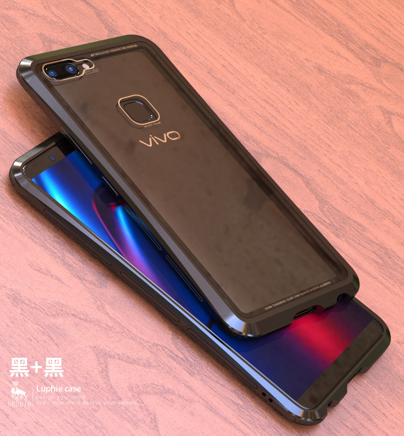 Luphie Nunchaku Airframe Metal Frame Air Barrier Tempered Glass Back Case Cover for vivo X20 & vivo X20 Plus