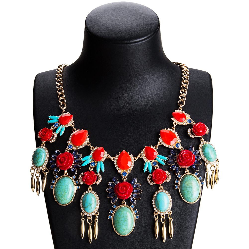 Fashion Alloy plating necklace Flowers (red)  NHJE0964-red