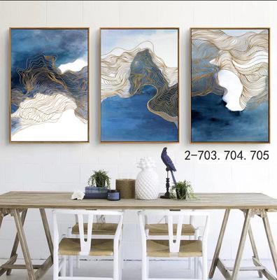 薇艾可画业宽黑框简约时尚现代中式装饰画餐厅走廊油画可手绘