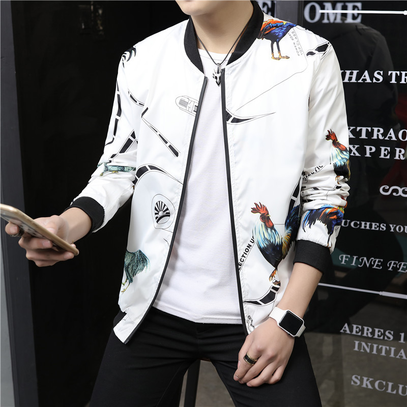 Spring And Autumn Jacket Slim Fit Male Korean Version Of The Trend Jacket Male Handsome Slim Students Teen Baseball Uniform Male Gown