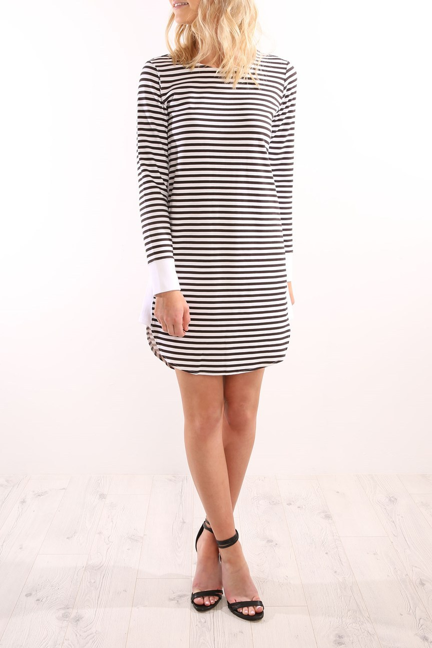Occident and the United States Polyester Stitching Female dress (Black and white stripes-XL)NHYF1296-Black and white stripes-XL