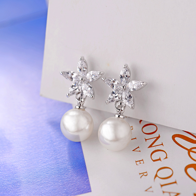 Copper Fashion Flowers earring  (Rose alloy white stone ear clip) NHLJ4103-Rose-alloy-white-stone-ear-clip