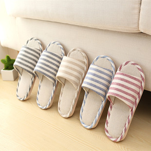 Striped linen slippers four seasons home men and women couples indoor non-slip thick-soled cotton slippers wholesale home sandals and slippers