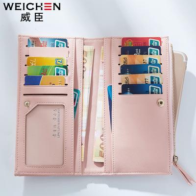 Wesson mùa thu mới ví nữ đoạn dài Hàn Quốc nhỏ tươi và đơn giản dây kéo điện thoại di động đa thẻ vị trí thay mặt cho một thế hệ