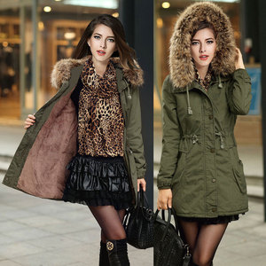Spot the Amazon eBay aliexpress selling Europe winter coat Fur Hoodie thick padded female
