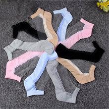 夏季女蕾絲船襪超薄棉底水晶玻璃絲襪日系短襪子透明防滑清涼