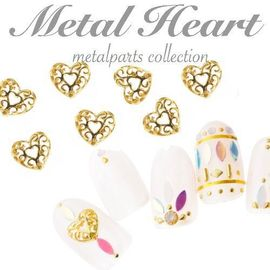 Japanese nail art hollow heart love nail jewelry accessories with gems nail metal Japan with the same paragraph